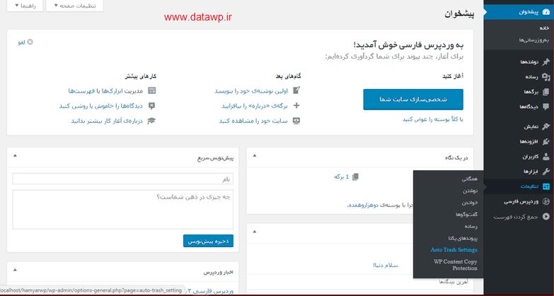 تصویر تنظیمات وردپرس DataWp.ir | Auto Trash Delete